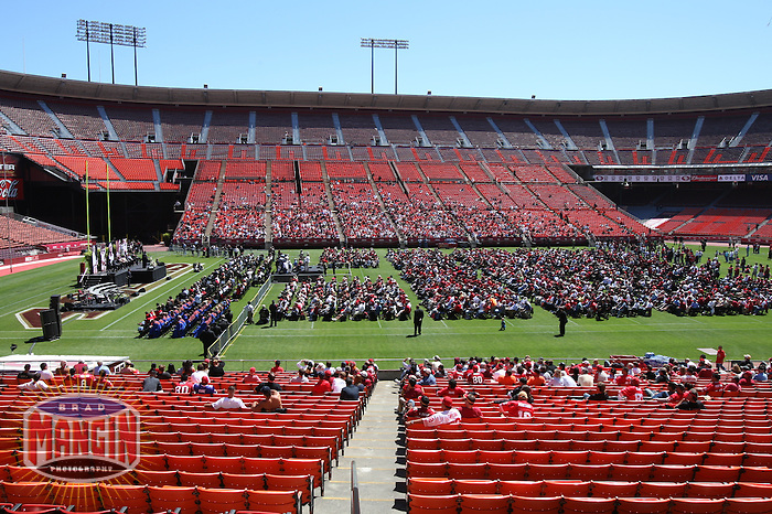 SAN FRANCISCO, CA - Wide angle view of the stage at the public memorial service for former San Francisco 49ers head coach Bill Walsh at Candlestick Park (Monster Park) in San Francisco, California on August 10, 2007. Photo by Brad Mangin