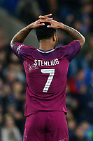 Raheem Sterling of Manchester City rues a missed opportunity after Sean Morrison's tackle denies him a goal during the Fly Emirates FA Cup Fourth Round match between Cardiff City and Manchester City at the Cardiff City Stadium, Wales, UK. Sunday 28 January 2018