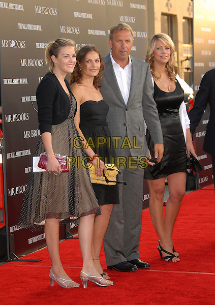 """KEVIN COSTNER, CHRISTINE BAUMGARTNER & daughters.attends The L.A. Premiere of """"Mr. Brooks"""" held at .The Grauman's Chinese Theater in Hollywood, California,.USA, May 22nd 2007..full length grey suit white shirt black dress family mother father kids children.CAP/DVS.©Debbie VanStory/Capital Pictures"""