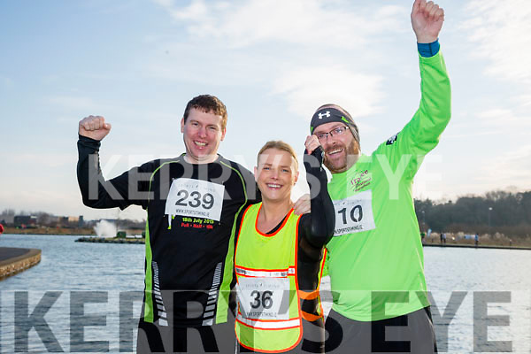 Padraig Leane, Aileen Buckley and David Doyle,  who took part in the Kerry's Eye Valentines Weekend 10 mile road race on Sunday.