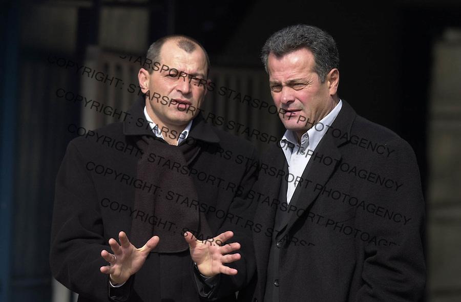 SPORT FUDBAL OFK BEOGRAD PARTIZAN Stevica Kuzmanoski i Nenad Bjekovic 03.2004. foto: Pedja Milosavljevic<br />