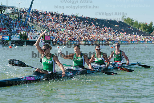 Gabriella Szabo, Danuta Kozak, Katalin Kovacs and Dalma Benedek (left to right) from Hungary celebrate their victory during the K4 women Kayak 500m final A of the 2011 ICF World Canoe Sprint Championships held in Szeged, Hungary on August 18, 2011. ATTILA VOLGYI