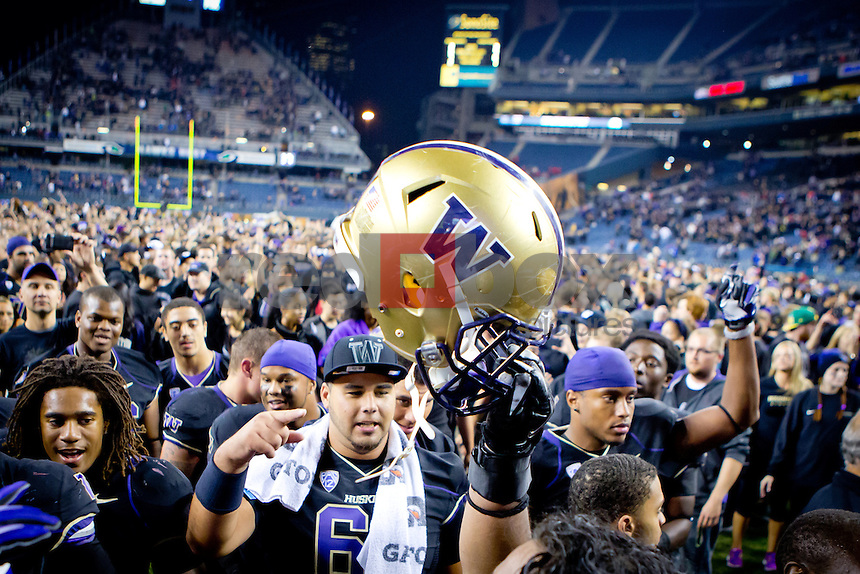The University of Washington (UW) pulled of a stunning upset defeating 8th ranked Stanford 17-13 at CenturyLink Field on Thursday September 27, 2012(Photography By Scott Eklund/Red Box Pictures)