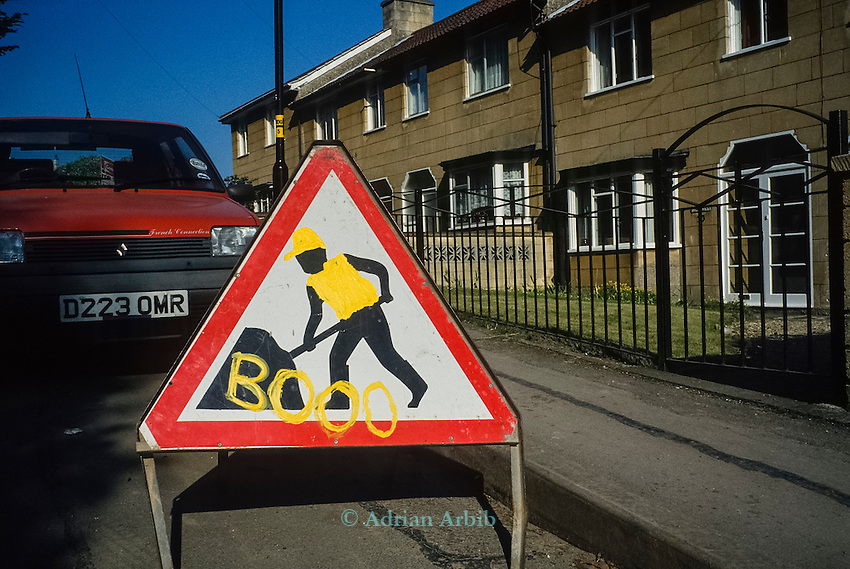 Steet grafittii . Batheaston ByPass protest, Solsbury Hill, Bath.