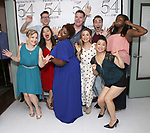 Maggie Lakis, Ben Durocher, Grace Choi, Danielle K. Thomas, Nick Kohn, Dana Steingold, Jason Jacoby, Katie Boren and Imari Hardon backstage at the 'Avenue Q' 15th Anniversary Reunion Concert at Feinstein's/54 Below on July 30, 2018 in New York City.