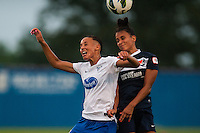 Sky Blue FC midfielder Taylor Lytle (6) goes up for a header with Boston Breakers forward Lianne Sanderson (10). Sky Blue FC and the Boston Breakers played to a 0-0 tie during a National Women's Soccer League (NWSL) match at Yurcak Field in Piscataway, NJ, on July 13, 2013.