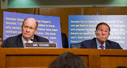 United States Senators Chris Coons (Democrat of Delaware), left, and Richard Blumenthal (Democrat of Connecticut), right, during the debate on document disclosure prior to Judge Brett Kavanaugh giving testimony before the United States Senate Judiciary Committee on his nomination as Associate Justice of the US Supreme Court to replace the retiring Justice Anthony Kennedy on Capitol Hill in Washington, DC on Tuesday, September 4, 2018.<br /> Credit: Ron Sachs / CNP<br /> (RESTRICTION: NO New York or New Jersey Newspapers or newspapers within a 75 mile radius of New York City)