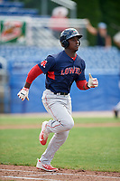 Lowell Spinners right fielder Ramfis Berroa (3) runs to first base during a game against the Batavia Muckdogs on July 15, 2018 at Dwyer Stadium in Batavia, New York.  Lowell defeated Batavia 6-2.  (Mike Janes/Four Seam Images)