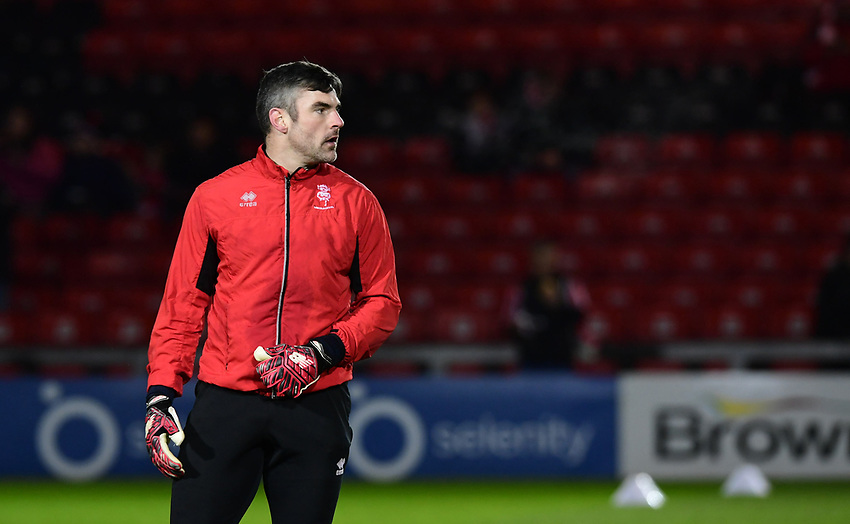 Lincoln City's Matt Gilks during the pre-match warm-up<br /> <br /> Photographer Chris Vaughan/CameraSport<br /> <br /> The EFL Sky Bet League Two - Lincoln City v Yeovil Town - Friday 8th March 2019 - Sincil Bank - Lincoln<br /> <br /> World Copyright © 2019 CameraSport. All rights reserved. 43 Linden Ave. Countesthorpe. Leicester. England. LE8 5PG - Tel: +44 (0) 116 277 4147 - admin@camerasport.com - www.camerasport.com