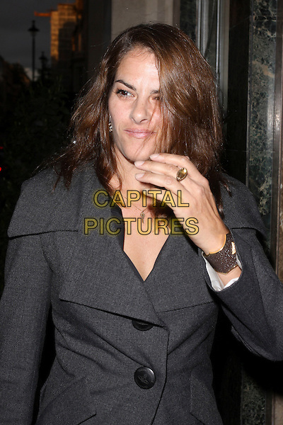 TRACEY EMIN .At the David Bailey Party, Claridge's hotel, London, England, UK,.May 11th 2010..half length hand ring grey gray coat jacket Vivienne Westwood  buttons collar .CAP/AH.©Adam Houghton/Capital Pictures.