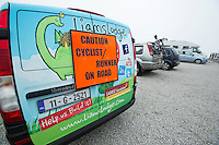 26 SEP 2013 - LANDS END, GBR - Paul Gosney's support vehicle, dressed in the colours of Liam's Lodge, a respite home for sick children, waits with others for the start of the Enduroman 2013 Lands End to London to Dover ultra triathlon at Lands End, Sennen, Cornwall, Great Britain (PHOTO COPYRIGHT © 2013 NIGEL FARROW, ALL RIGHTS RESERVED)