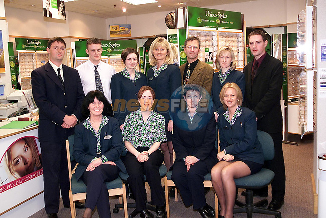Specsavers Staff. Back Row Left to Right, David McCloskey, Director/Dispensing Optician, Brian Brodigan, SMC Technician, Claire Brien and Gena Meegan, Optical Assistants, Martin Victory, Optometerist, Imelda Munster, Optical Assistant, Kerril Hickey, Director/Optometrist. Front Row, Left to Right, Myra Williams and Sharon O'Brien, Optical Assistants, Nicci Smith, Sales Coordinator and Marian Lacey, Optometry Coordinator..Picture Paul Mohan Newsfile