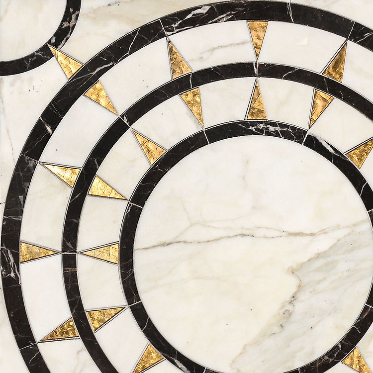 Mireille, a waterjet mosaic shown in honed 24K Gold Glass, polished Calacatta and Saint Laurent, is part of the Aurora® collection by Sara Baldwin for New Ravenna.