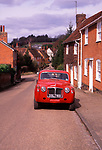 A87DGE Old classic red rover truck parked in the village street in Kersey Suffolk England