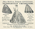 PHILPOTT\'S SANSFLECTUM  CRINOLINES : approved by  the Englishwoman\'s Domestic  Magazine and by the Morning  Post, these frames hold up  the crinoline dress<br /> <br /> 1864