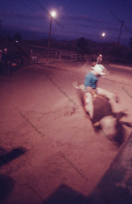 Grainy photo of a rodeo bull rider.