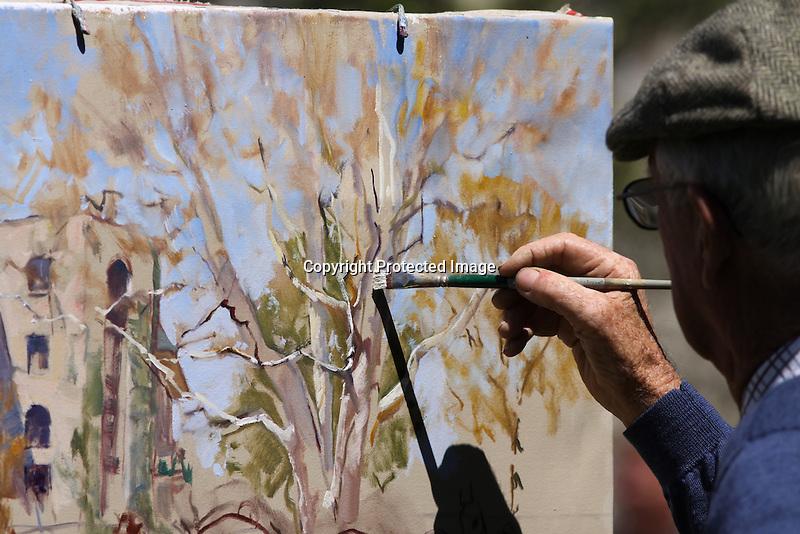 Painter Peter Williams in the Keeneland paddock. 04.10.2010