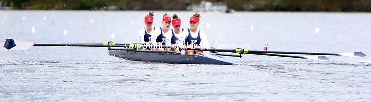 NEW PRESTON CT. 06 May 2017-050717SV04-A team from  Kent School competes in the 58th annual Founder's Day Regatta at Lake Waramaug in New Preston Sunday.<br /> Steven Valenti Republican-American