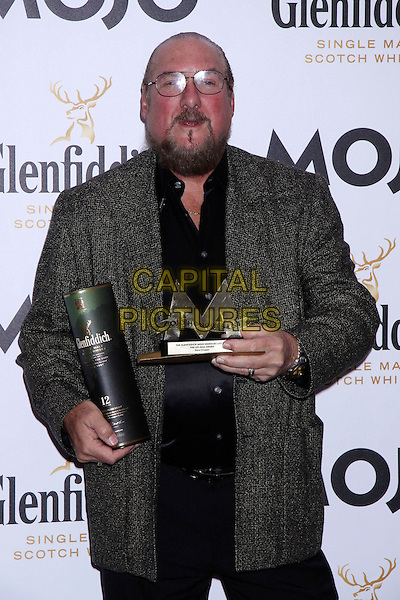 Steve Cropper.The Glenfiddich MOJO Honours List award ceremony, the Brewery, Chiswell St., London, England..July 21st, 2011.half length black top jacket grey gray glasses beard facial hair  award trophy winner  .CAP/COA/CC.©CC/COA/Capital .