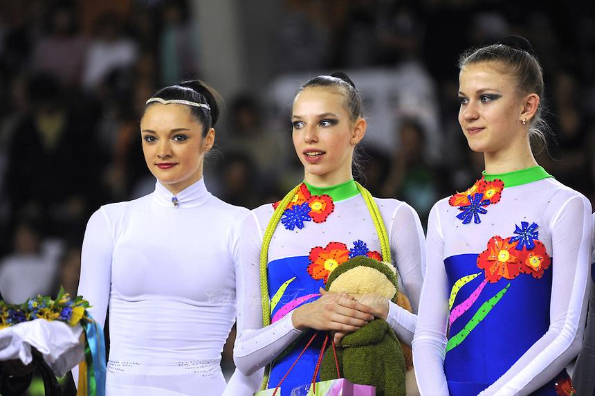November 9, 2008; Durango, Spain (near Bilbao); (L) Rhythmic gymnast Anna Bessonova of Ukraine receives special gifts with the Ukrainian group at 2008 Euskalgym International.  .