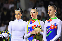 November 9, 2008; Durango, Spain (near Bilbao); (L) Rhythmic gymnast Anna Bessonova of Ukraine receives special gifts with the Ukrainian group at 2008 Euskalgym International.  .