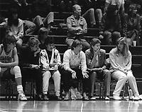 1987: (left to right): June Daugherty, Asst. Julie Plank, Head Coach Tara VanDerveer, Asst. Amy Tucker, Asst. Trainer Patti Millson.