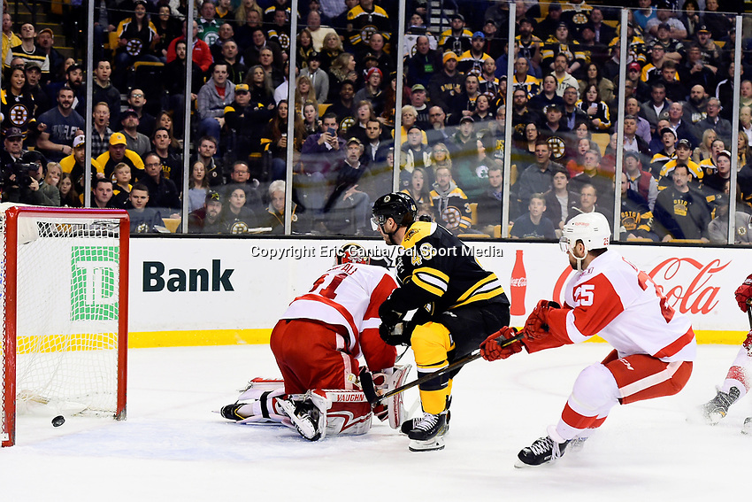 Wednesday, March 8, 2017: Boston Bruins center David Krejci (46) scores a first period goal against Detroit Red Wings goalie Jared Coreau (31) during the National Hockey League game between the Detroit Red Wings and the Boston Bruins held at TD Garden, in Boston, Mass. Eric Canha/CSM