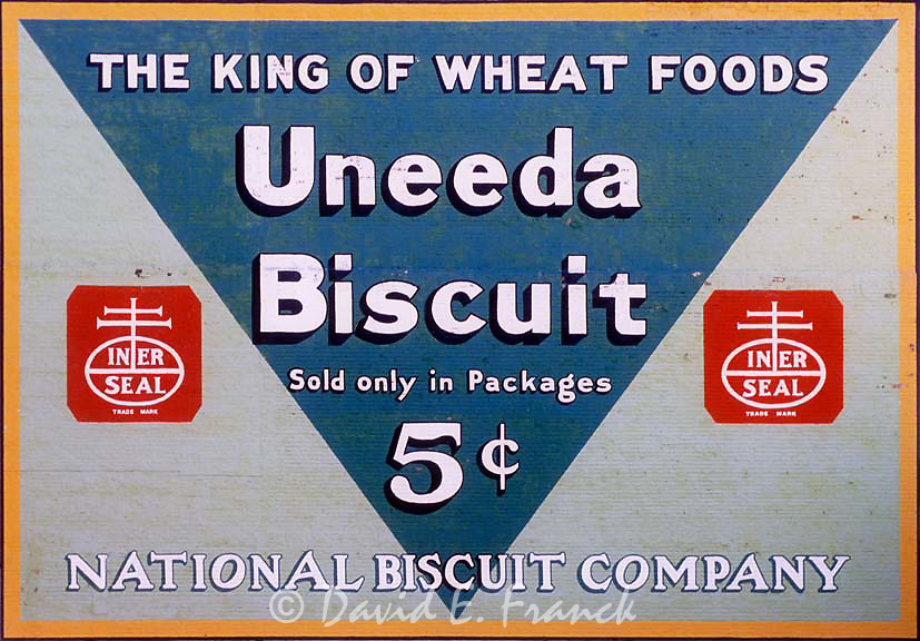 Uneeda Biscuit sign on the side of an old building in Roanoke, VA