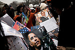 January 19, 2009. Washington, DC..Thousands of people congregated on the National Mall on the day before the inauguration of Barack Obama, the 44th president of the United States.. A man sold posters of the new president to the throngs of people on the Mall.