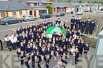 GREEN: Blennerville NS who invited Colm Cooper of the Kerry Senior Football team, to raise the Green Flag with pupils and teachers cheering Colm as he raises the flag. on Monday.