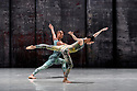 London, UK. 07.11.2019. Rambert presents RAMBERT EVENT, by Merce Cunningham, at Sadler's Wells. Choreography by Merce Cunningham, staging by Jeannie Steele, Music by Philip Selway, Quinta and Adem Ilhan, designs inspired by Gerhard Richter's 'Cage' series, performed by Rambert. The dancers are: Jacob Wye, Soojin Choi. Photograph © Jane Hobson.