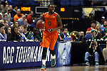 12 March 2015: Miami's Ja'Quan Newton. The Notre Dame Fighting Irish played the University of Miami Hurricanes in an NCAA Division I Men's basketball game at the Greensboro Coliseum in Greensboro, North Carolina in the ACC Men's Basketball Tournament quarterfinal game. Notre Dame won the game 70-63.