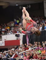 Arkansas' Amanda Elswick competes Friday, Feb. 7, 2020, in the portion of the Razorbacks' meet with Georgia in Barnhill Arena in Fayetteville. Visit  nwaonline.com/gymbacks/ for a gallery from the meet.<br /> (NWA Democrat-Gazette/Andy Shupe)