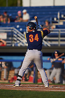 State College Spikes outfielder Orlando Olivera (34) at bat aduring a game against the Batavia Muckdogs August 22, 2015 at Dwyer Stadium in Batavia, New York.  State College defeated Batavia 5-3.  (Mike Janes/Four Seam Images)