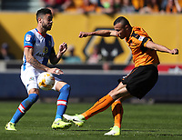 Wolverhampton Wanderers' Romain Saiss and Blackburn Rovers' Derrick Williams<br /> <br /> Photographer Rachel Holborn/CameraSport<br /> <br /> The EFL Sky Bet Championship - Wolverhampton Wanderers v Blackburn Rovers - Saturday 22nd April 2017 - Molineux - Wolverhampton<br /> <br /> World Copyright &copy; 2017 CameraSport. All rights reserved. 43 Linden Ave. Countesthorpe. Leicester. England. LE8 5PG - Tel: +44 (0) 116 277 4147 - admin@camerasport.com - www.camerasport.com