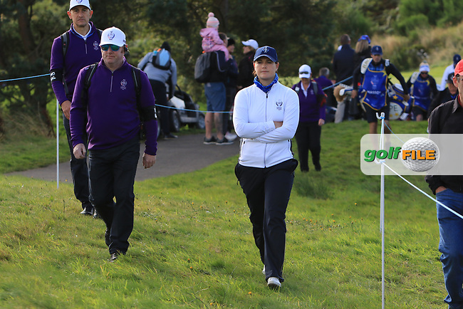 Caroline Masson of Team Europe walking to the 8th tee during Day 1 Foursomes at the Solheim Cup 2019, Gleneagles Golf CLub, Auchterarder, Perthshire, Scotland. 13/09/2019.<br /> Picture Thos Caffrey / Golffile.ie<br /> <br /> All photo usage must carry mandatory copyright credit (© Golffile | Thos Caffrey)
