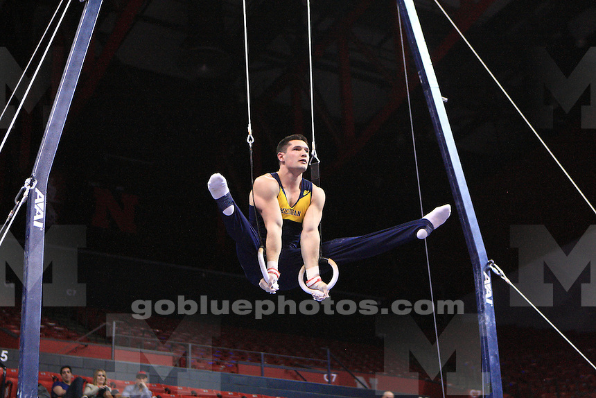 The University of Michigan men's gymnastics team win the Team Championship at the 2014 Big Ten Men's Gymnastics Championships held at Penn State, March 28, 2014
