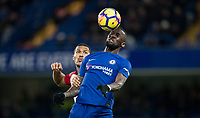 Antonio Rudiger of Chelsea beats Jose Salomon Rondon of WBA in the air during the Premier League match between Chelsea and West Bromwich Albion at Stamford Bridge, London, England on 12 February 2018. Photo by Andy Rowland.