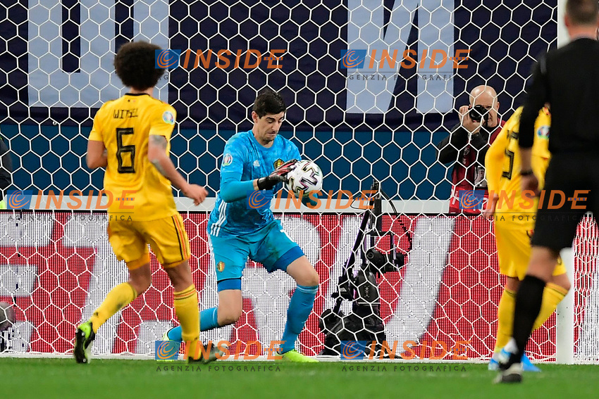 Thibaut Courtois goalkeeper of Belgium  <br /> Saint Petersbourg  - Qualification Euro 2020 - 16/11/2019 <br /> Russia - Belgium <br /> Foto Photonews/Panoramic/Insidefoto <br /> ITALY ONLY