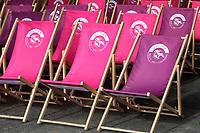 LONGCHAMP, FRANCE - October 06, 2018: Flagsc for the Meeting around the Qatar Prix de l'Arc de Triomphe at Longchamp race track.