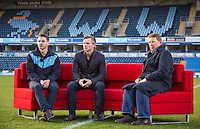 (l-r) Wycombe player Matt Bloomfield, Manager Gareth Ainsworth & Bill Turnbull on the sofa During BBC Breakfast as they air their live broadcast on Tuesday morning, presented by Bill Turnbull for his penultimate appearance on the programme at Adams Park, High Wycombe, England on 23 February 2016. Photo by Andy Rowland.