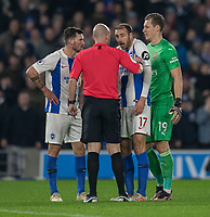 Brighton & Hove Albion's Glenn Murray (right) having words with the referee Anthony Taylor over a disallowed goal<br /> <br /> Photographer David Horton/CameraSport<br /> <br /> The Premier League - Brighton and Hove Albion v Arsenal - Wednesday 26th December 2018 - The Amex Stadium - Brighton<br /> <br /> World Copyright © 2018 CameraSport. All rights reserved. 43 Linden Ave. Countesthorpe. Leicester. England. LE8 5PG - Tel: +44 (0) 116 277 4147 - admin@camerasport.com - www.camerasport.com