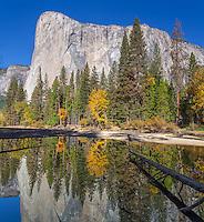Yosemite National Park, California<br /> El Capitan reflected in stilll pool at Cathedral Beach, Yosemite Valley