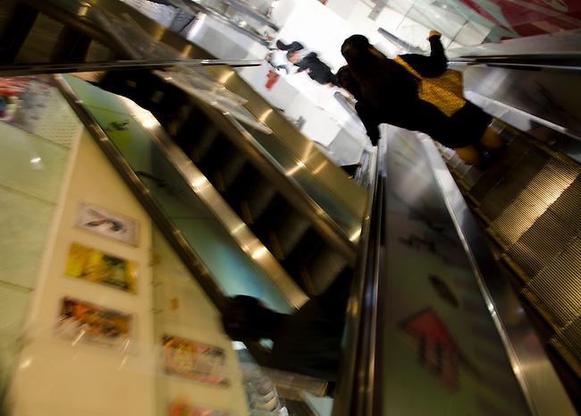 Hong Kong urban scene shopping center excalator