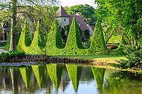 France, Cher (18), Apremont-sur-Allier, labellisé Plus Beaux Villages de France, Parc Floral d'Apremont-sur-Allier, charmilles taillés en pyramides