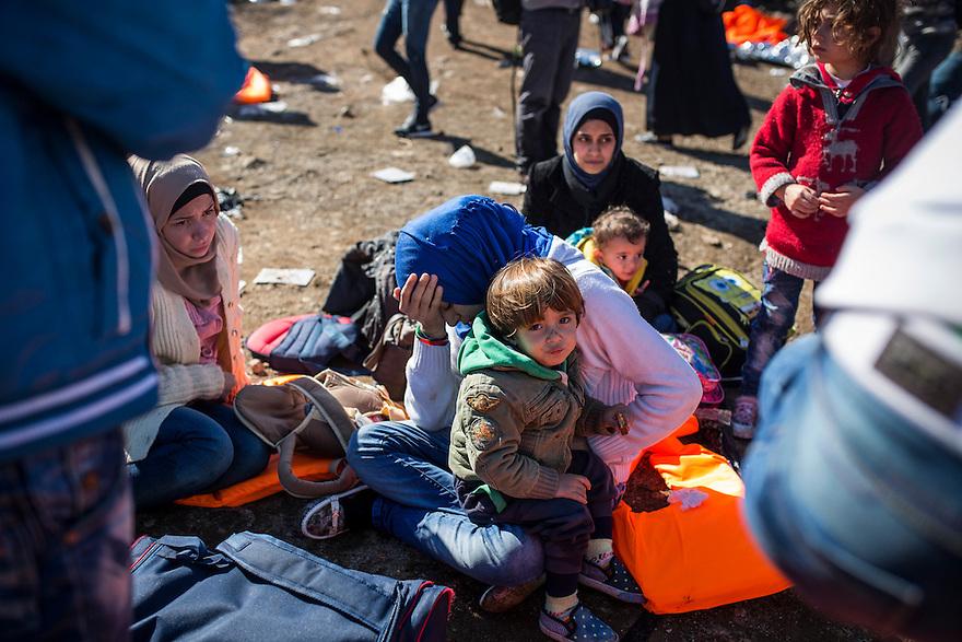 Asylum-seekers landing at Eftalou, the northern beach of Lesbos, Greece.