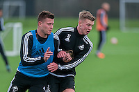 Wednesday  06 January 2016<br /> Pictured: Franck Tabanou and Adam King <br /> Re: Swansea City Training session at the Fairwood training ground, Swansea, Wales, UK