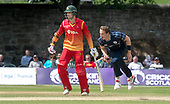 Cricket Scotland - Scotland V Zimbabwe One Day International match at Grange CC today (Thur) - this match is the second of two ODI matches this week against Zimbabwe, and Scotland won the first encounter, on Thursday, by 26 runs - Scotland's Josh Davey bowls past Zimbabwe bat Sean Ervine (who Davey later bowled for 30 runs) - picture by Donald MacLeod - 17.06.2017 - 07702 319 738 - clanmacleod@btinternet.com - www.donald-macleod.com