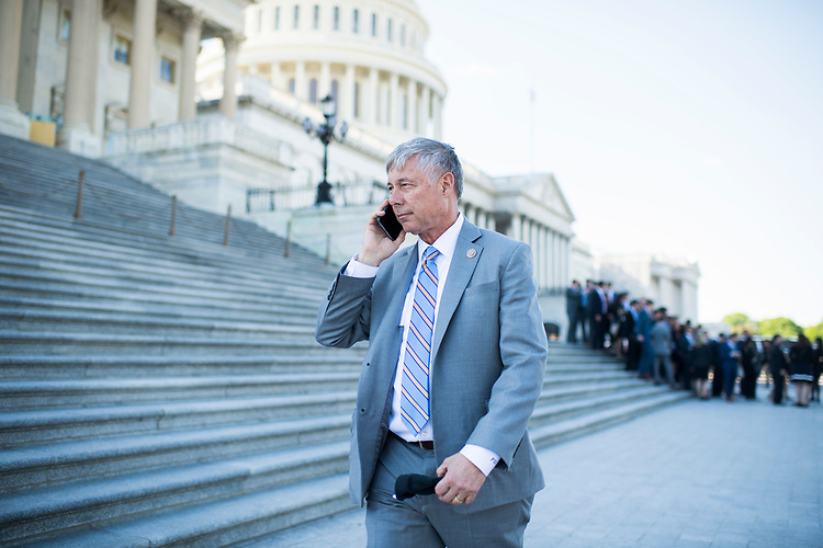 UNITED STATES - MAY 3: Rep. Fred Upton, R-Mich., walks near the House steps of the Capitol after speaking with students from the University of Michigan on May 3, 2017. (Photo By Tom Williams/CQ Roll Call)