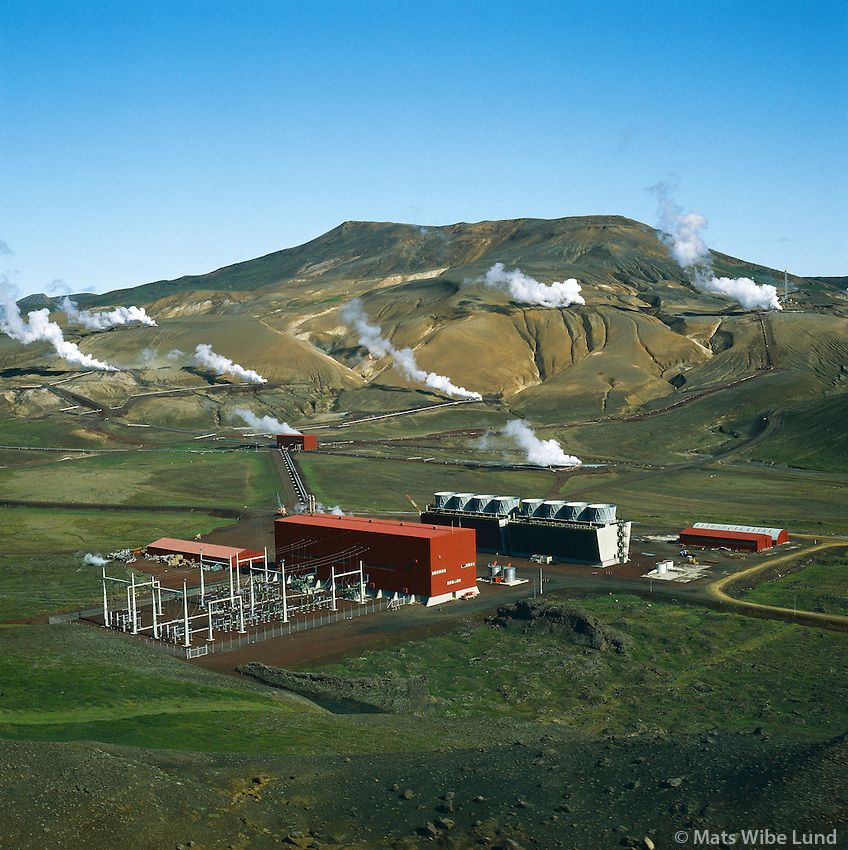 Kröfluvirkjun. Skútustaðahreppur Loftmynd.Krafla / Kroflu geothermal power station. Lake Myvatn district. Areal.